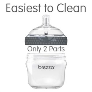 Baby Brezza Two Piece Natural Glass Baby Bottle with Lid