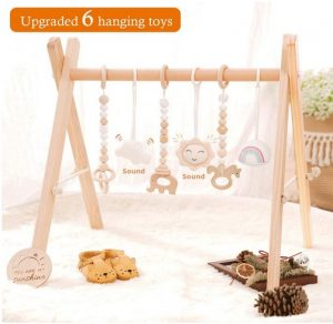 Wooden Baby Gym with 6 Wooden Baby Toys Foldable